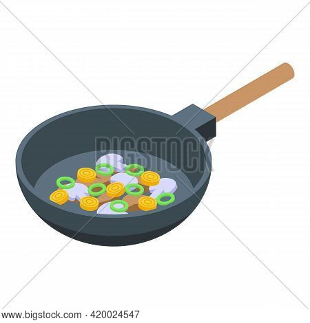 Wok Menu Frying Pan Icon. Isometric Of Wok Menu Frying Pan Vector Icon For Web Design Isolated On Wh