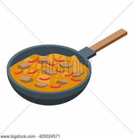Wok Menu Japanese Icon. Isometric Of Wok Menu Japanese Vector Icon For Web Design Isolated On White