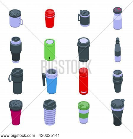 Thermo Cup Icons Set. Isometric Set Of Thermo Cup Vector Icons For Web Design Isolated On White Back