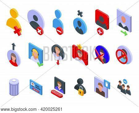 Delete User Icons Set. Isometric Set Of Delete User Vector Icons For Web Design Isolated On White Ba