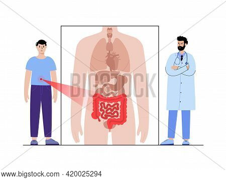 Appendicitis, Pain, Inflammation In Intestine. Appointment With Doctor. Cancer, Disease In Digestive
