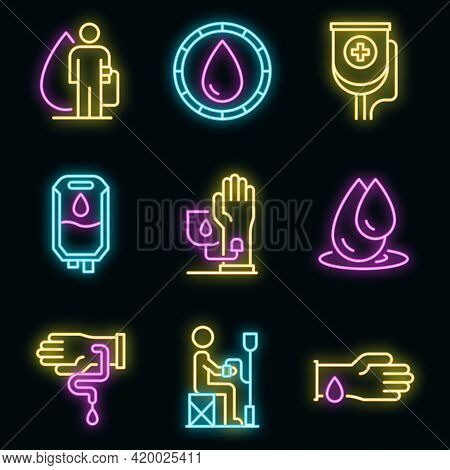 Blood Transfusion Icons Set. Outline Set Of Blood Transfusion Vector Icons Neon Color On Black
