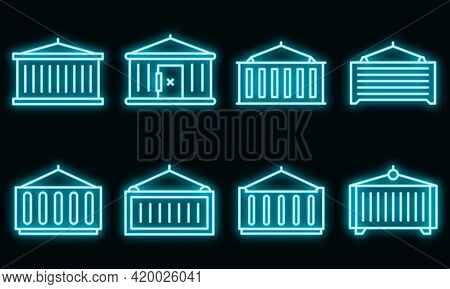 Cargo Container Icons Set. Outline Set Of Cargo Container Vector Icons Neon Color On Black