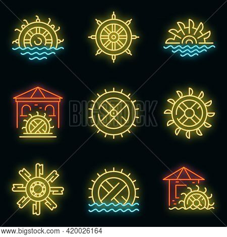 Water Mill Icons Set. Outline Set Of Water Mill Vector Icons Neon Color On Black