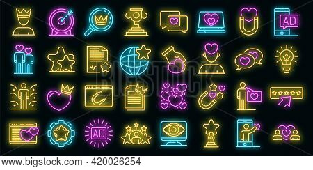 Engaging Content Icons Set. Outline Set Of Engaging Content Vector Icons Neon Color On Black