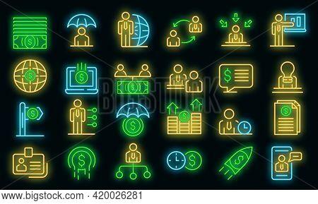 Financial Advisor Icons Set. Outline Set Of Financial Advisor Vector Icons Neon Color On Black