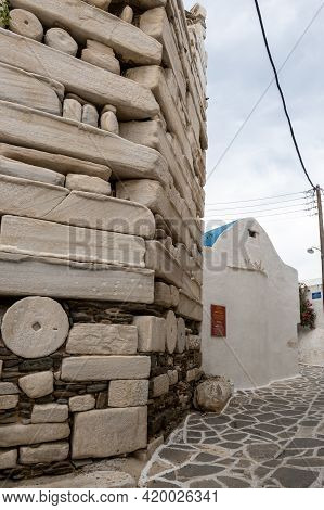 Paros, Greece - September 28, 2020: The Frankish Castle Of Paros Located In Old Town Of Parikia . Cy
