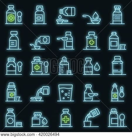 Cough Syrup Icons Set. Outline Set Of Cough Syrup Vector Icons Neon Color On Black