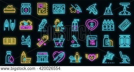 Tattoo Studio Icons Set. Outline Set Of Tattoo Studio Vector Icons Neon Color On Black