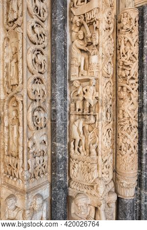 Detail of the Radovan's portal of the St Lawrence cathedral church in Trogir, Croatia. Stone carving close up