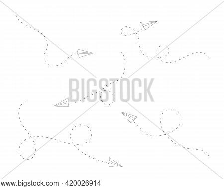 Set Of Flying Origami Paper Planes With Dashed Lines Of Paths. Airplanes As Symbol Of Delivery, Comm
