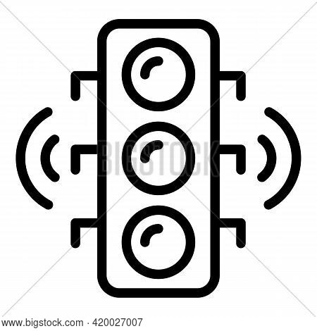 Wifi Traffic Lights Icon. Outline Wifi Traffic Lights Vector Icon For Web Design Isolated On White B
