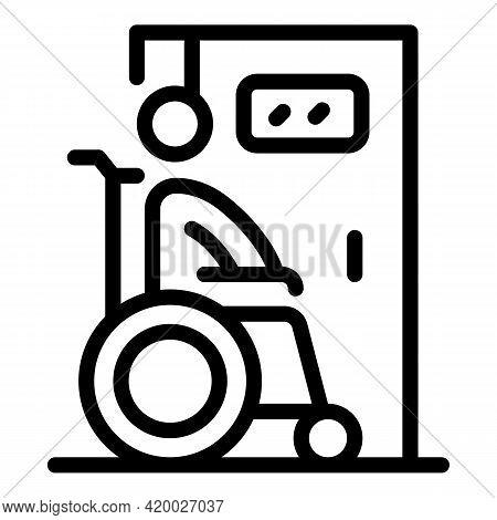 Wheelchair Man Toilet Icon. Outline Wheelchair Man Toilet Vector Icon For Web Design Isolated On Whi