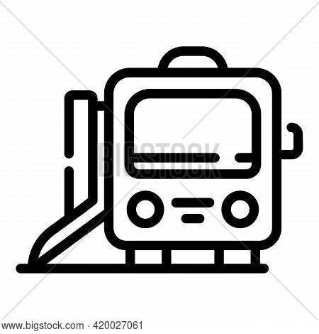 Accessible Metro Train Icon. Outline Accessible Metro Train Vector Icon For Web Design Isolated On W