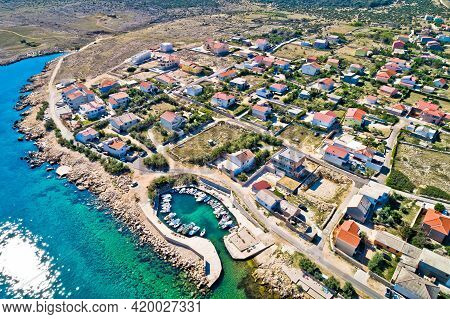 Razanac. Historic Town Of Razanac Beach And Waterfront Aerial View, Dalmatia Region Of Croatia