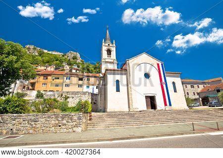 Town Of Knin And Church And Fortress Street View, Dalmatian Zagora Region Of Croatia