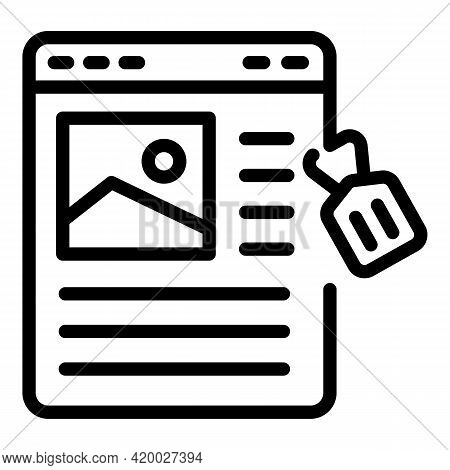 Web Site Marketing Icon. Outline Web Site Marketing Vector Icon For Web Design Isolated On White Bac