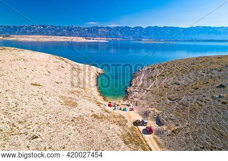 Vrsi. Zadar Archipelago Idyllic Cove Beach In Stone Desert Scenery Near Zecevo Island, Dalmatia Regi
