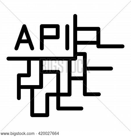 Api Digital Network Icon. Outline Api Digital Network Vector Icon For Web Design Isolated On White B