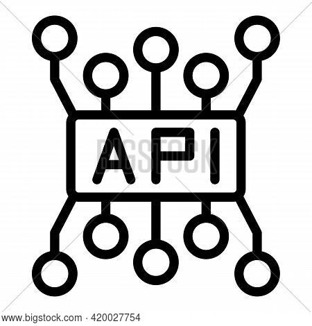 Api Code Icon. Outline Api Code Vector Icon For Web Design Isolated On White Background