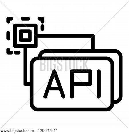 Api Button Icon. Outline Api Button Vector Icon For Web Design Isolated On White Background