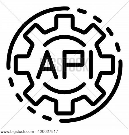 Api Code Gear Icon. Outline Api Code Gear Vector Icon For Web Design Isolated On White Background