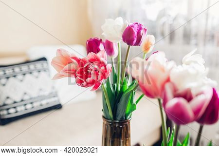 Interior And Home Decor. Fresh Tulips In Flower Arrangement Put In Vases In Cozy Living Room. Fresh
