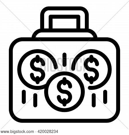 Case Laundry Money Icon. Outline Case Laundry Money Vector Icon For Web Design Isolated On White Bac