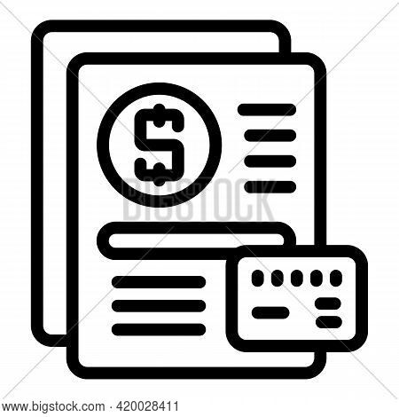 Financial Planning Paper Icon. Outline Financial Planning Paper Vector Icon For Web Design Isolated