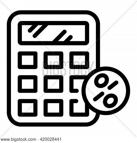 Financial Planning Calculator Icon. Outline Financial Planning Calculator Vector Icon For Web Design