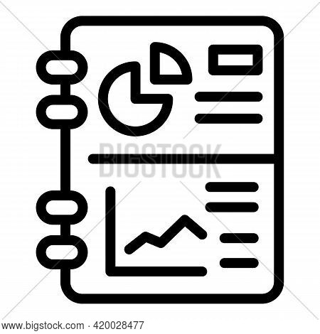 Financial Planning Chart Notebook Icon. Outline Financial Planning Chart Notebook Vector Icon For We