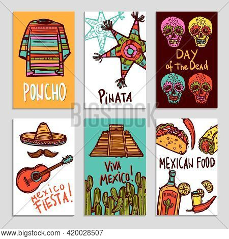 Mexico Poster Set With Hand Drawn Poncho Pinata And Food Elements Isolated Vector Illustration