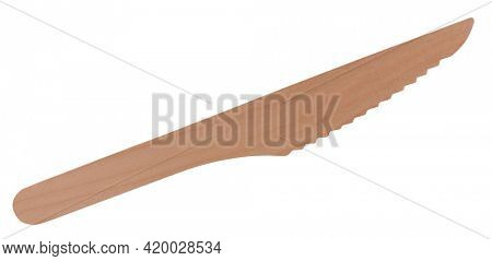 Wooden knife nature friendly device for food isolated on white background