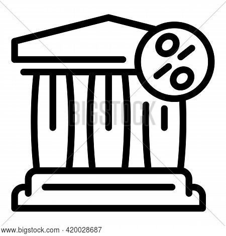 Financial Planning Bank Icon. Outline Financial Planning Bank Vector Icon For Web Design Isolated On