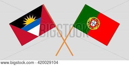 Crossed Flags Of Antigua And Barbuda And Portugal