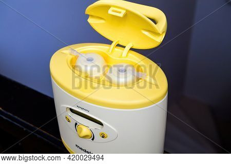 Paris, France - May 7 2021: Open Plastic Lid Of Hero Object Of New Medela Made In Switzerland Pumps