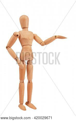 Wooden man drawing mannequin figure model concept is presenting something isolated on white background