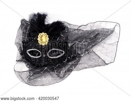 Black masquerade mask with feathers.