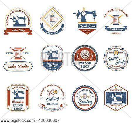 Vintage Tailor Shop Original Labels Set With Antique Sewing Machine And Treads Bobbin Abstract Isola