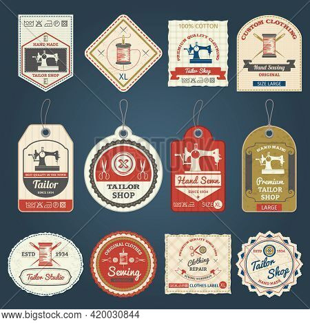 Premium Tailor Shop For Custom Made Clothes Labels And Badges Samples Collection Vintage Abstract Is
