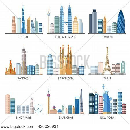Famous Capitals And Cities Characteristic Downtown Business Center Edifice Buildings Silhouettes Day