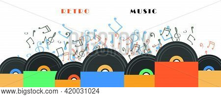 Sheets Music And  Vinyl Records Music. Retro Music Party