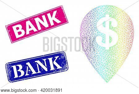Spectrum Colored Mesh Bank Map Marker, And Bank Dirty Framed Rectangle Seals. Pink And Blue Rectangl