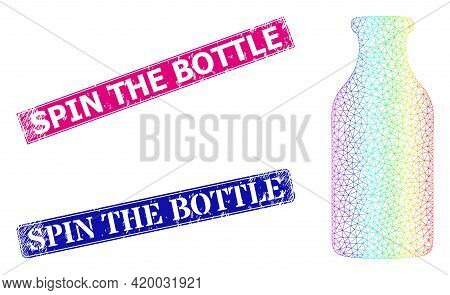 Rainbow Colorful Mesh Bottle, And Spin The Bottle Corroded Framed Rectangle Stamps. Pink And Blue Re