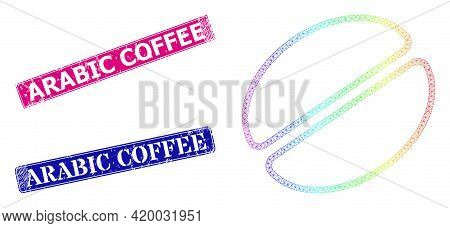Spectrum Colorful Network Cacao Bean, And Arabic Coffee Textured Framed Rectangle Stamp Seals. Pink