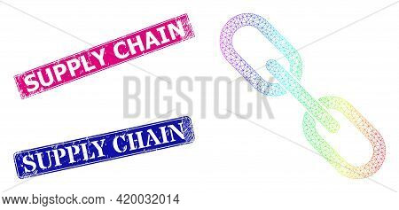 Spectral Colorful Mesh Chain, And Supply Chain Corroded Framed Rectangle Seal Prints. Pink And Blue