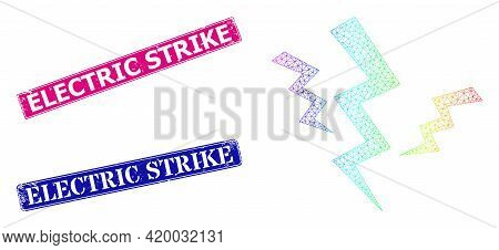 Spectral Colorful Network Crack Strikes, And Electric Strike Dirty Framed Rectangle Stamp Seals. Pin