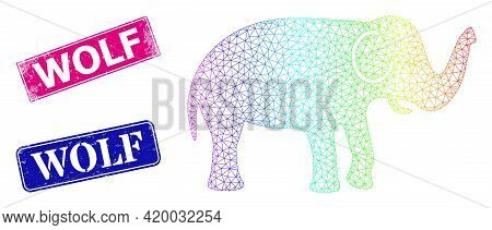 Spectral Gradient Net Elephant, And Wolf Grunge Framed Rectangle Stamp Seals. Pink And Blue Rectangl