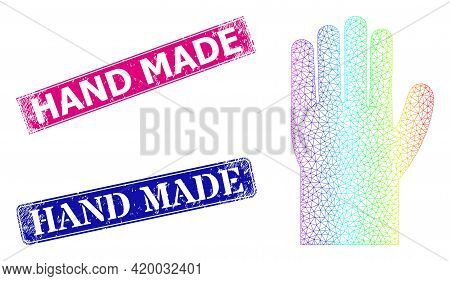 Spectral Colorful Mesh Hand, And Hand Made Scratched Framed Rectangle Stamp Seals. Pink And Blue Rec