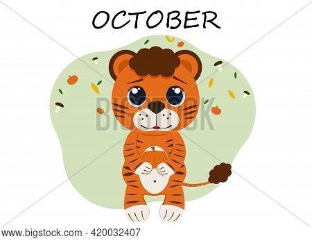 Vector Illustration Of Tiger Cub In October With Pumpkin And Autumn Foliage
